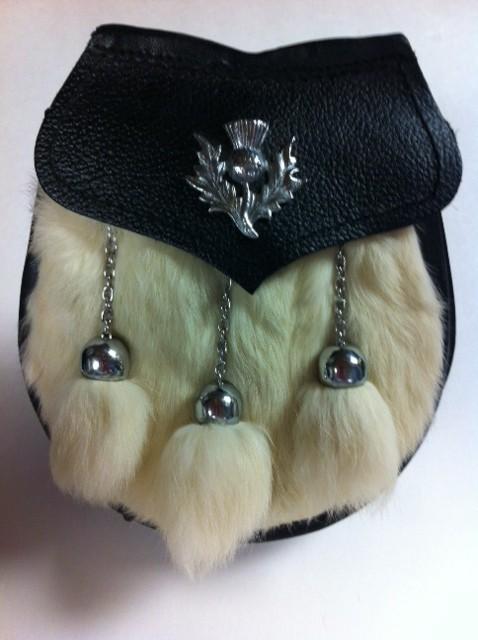 Semi Dress Sporran White Rabbit With Thistle on Flap