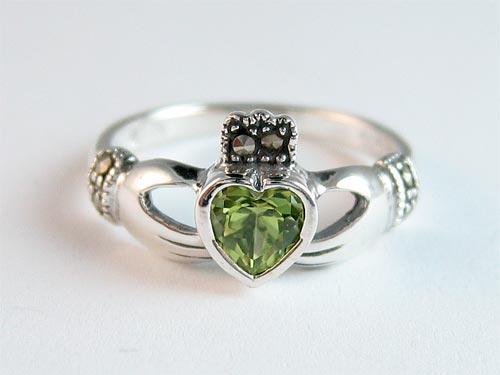 Silver Peridot Claddagh Ring