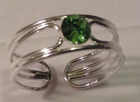 Silver Toe Ring Peridot