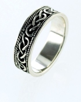 Silver Celtic Knot Bead Edge Band Ring