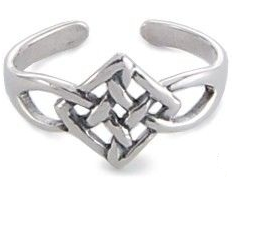 Silver Celtic Square Toe Ring