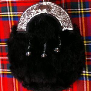 Fur Sporran Black Rabbit Solid Cantle Dress