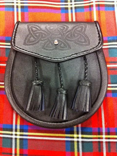 Leather Sporran Black Celtic Embossed 3 Braid Tassel