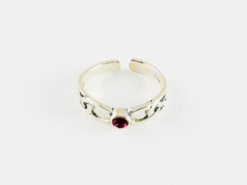 Silver Toe Ring with Gem