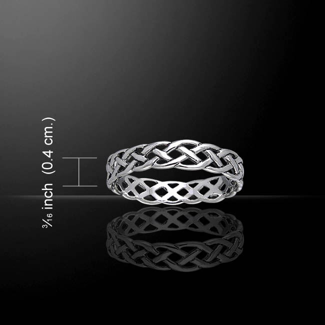 Silver Celtic Thin Band Ring