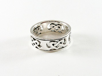 Silver Celtic Heart Band Ring
