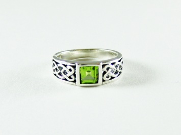 Silver Celtic Ring with Peridot