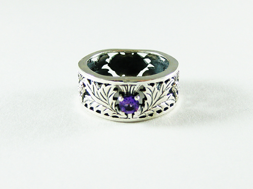 Silver Thistle Wide Band Ring with Amethyst