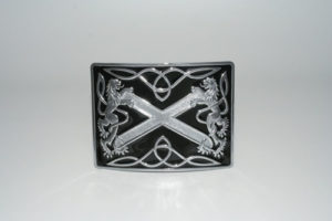 Highland Saltire Black Enamel Buckle Chrome