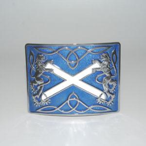 Highland Saltire Blue Enamel Buckle Chrome