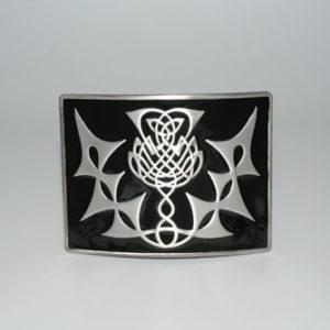 Highland Thistle Black Enamel Buckle Antique