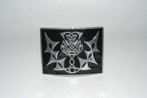 Highland Thistle Black Enamel Buckle Chrome