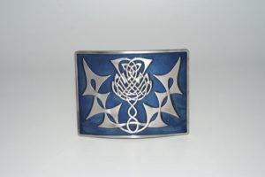 Highland Thistle Blue Enamel Buckle Antique