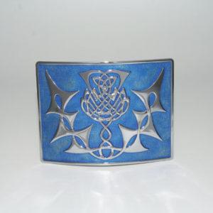 Highland Thistle Blue Enamel Buckle Chrome
