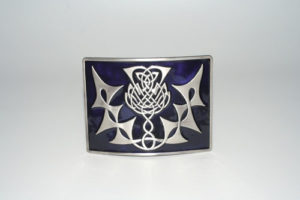 Highland Thistle Purple Enamel Buckle Antique