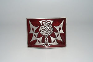 Highland Thistle Red Enamel Buckle Antique