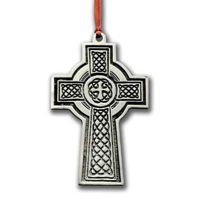 Celtic Cross Pewter Christmas Ornament