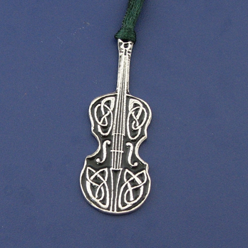 Celtic Fiddle Pewter Christmas Ornament