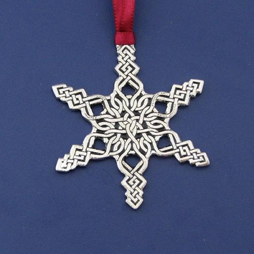 Celtic Snowflake Pewter Christmas Ornament