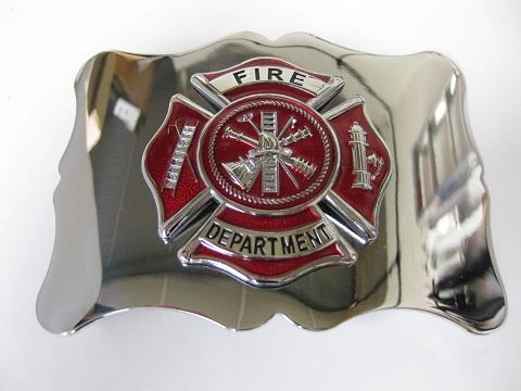 Firefighter Chrome Enamel Buckle